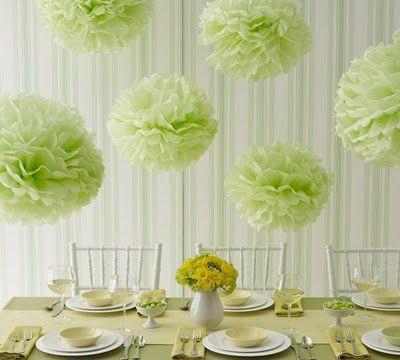 decoration-salle-pompons-verts-anis