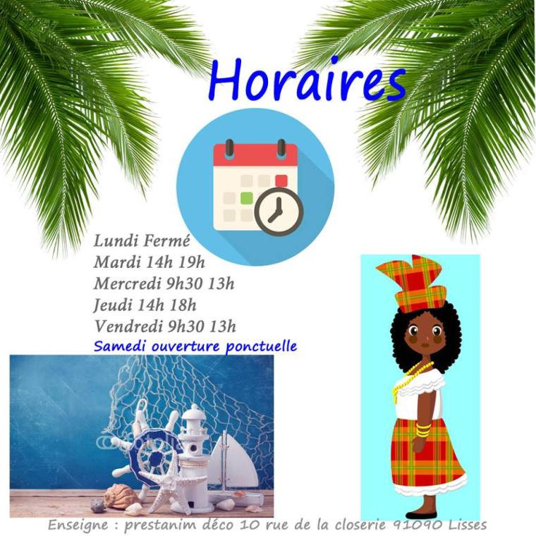horaires-prestanim-france-decorations-mariage-magasin-lisses-91090
