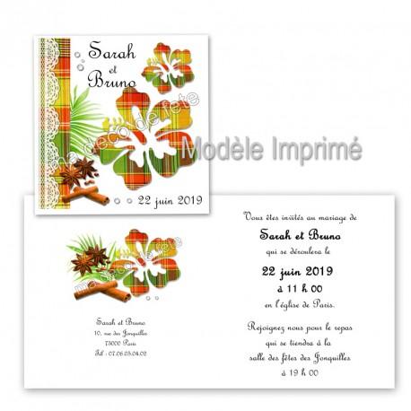 faire-part-hibiscus-madras-rouge